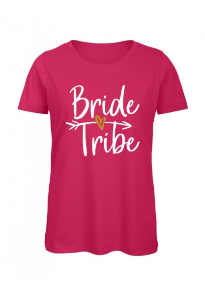 JGA T-Shirt BRIDE TRIBE weiß-gold