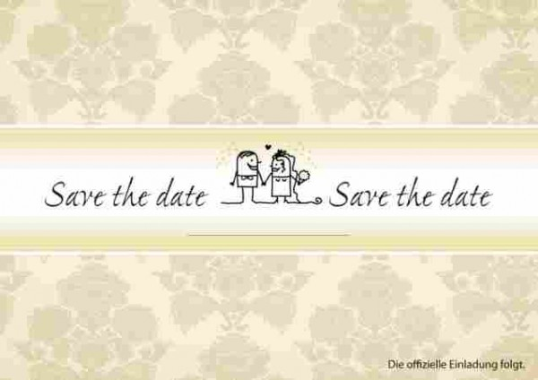 Save the Date Karte in Creme