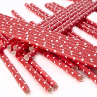 Papierstrohhalme Punkte in Rot-Weiss 25 Stk.