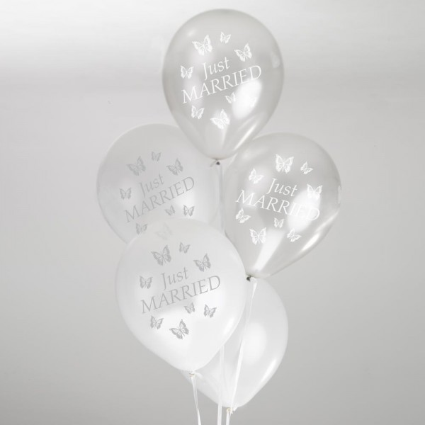 Luftballons JUST MARRIED Schmetterlinge silber 8 Stk.