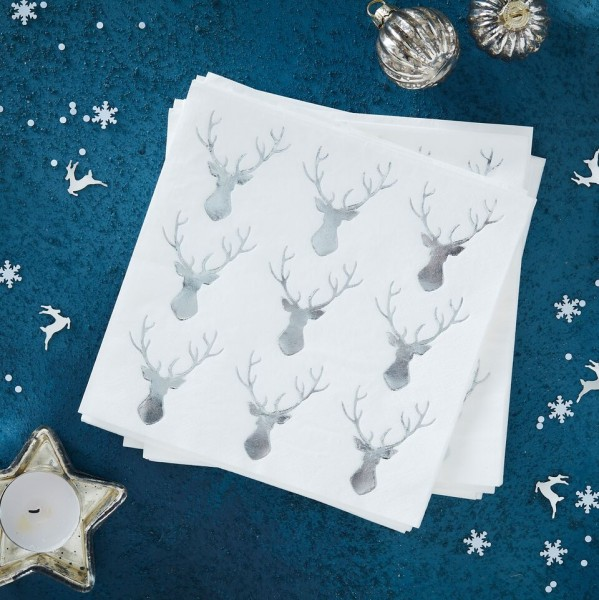 Silver Foiled Stag Paper Cocktail Napkins - Silver Christmas