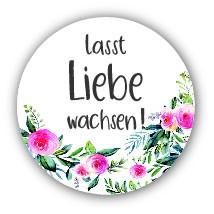 """Aufkleber """"Lasst Liebe wachsen"""" Blume 40 Stk. Ø 30 mm"""