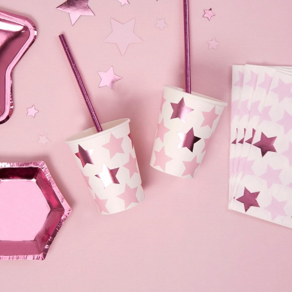 Pappbecher LITTLE STARS pink 8 Stk.