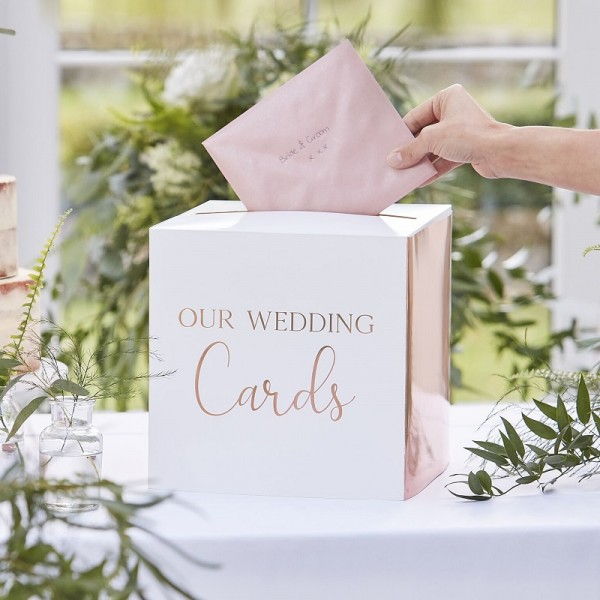 "Geldbox ""Our Wedding Cards"" roségold"
