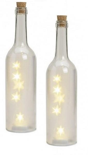 Glasflaschen Sterne LED 2 Stk.