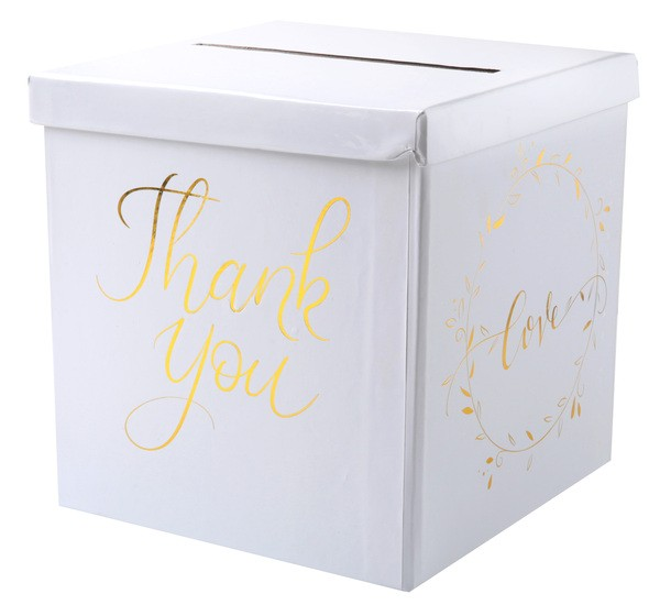 Briefbox JUST MARRIED weiss-gold