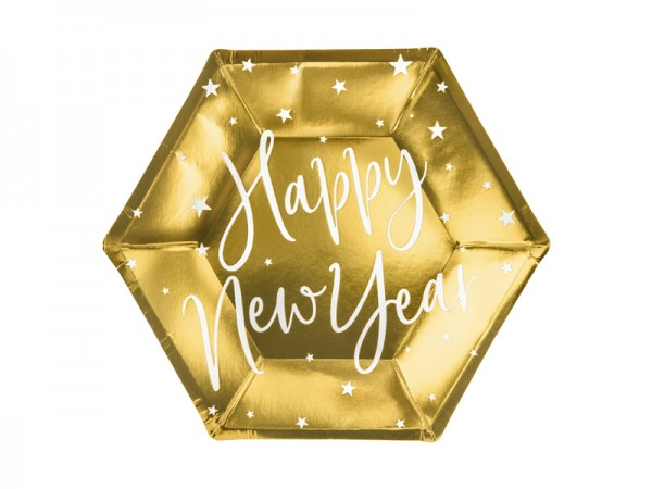 Silvester Pappteller Happy New Year 6 Stk.