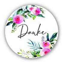 """Aufkleber """"Danke"""" Blume 40 Stk. Ø 30 mm"""