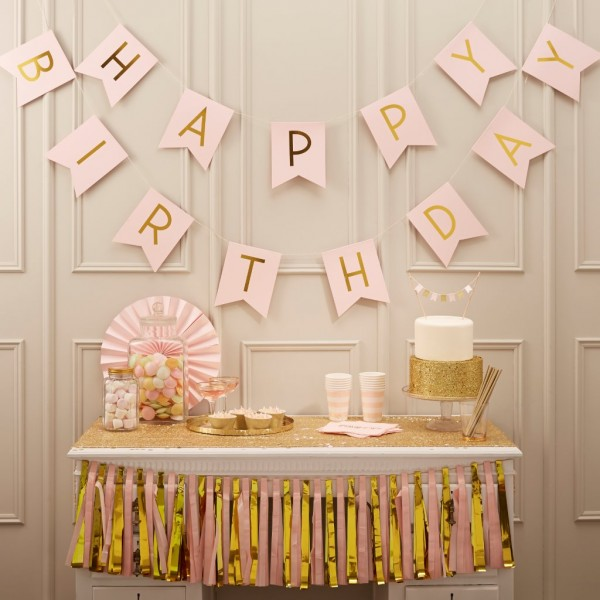 Girlande HAPPY BIRTHDAY, pink & gold