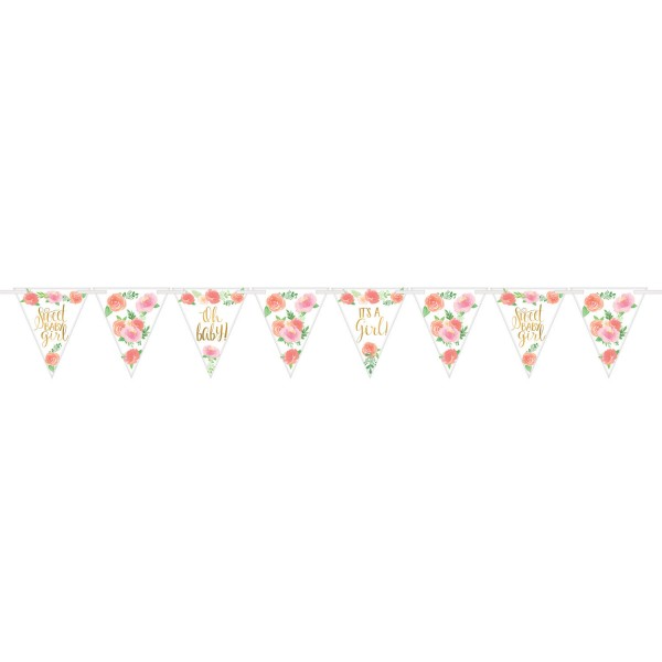Wimpelgirlande Floral Baby Party Girl