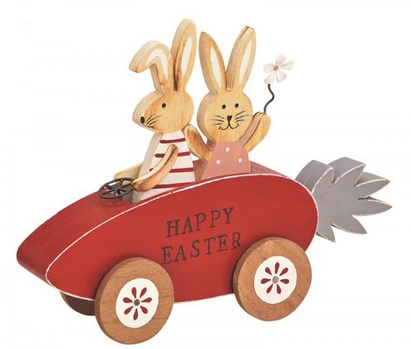 Dekofigur Hasenpaar im Auto rot