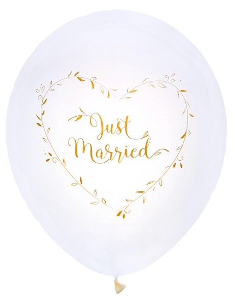 Luftballons JUST MARRIED weiss-gold 8 Stk.