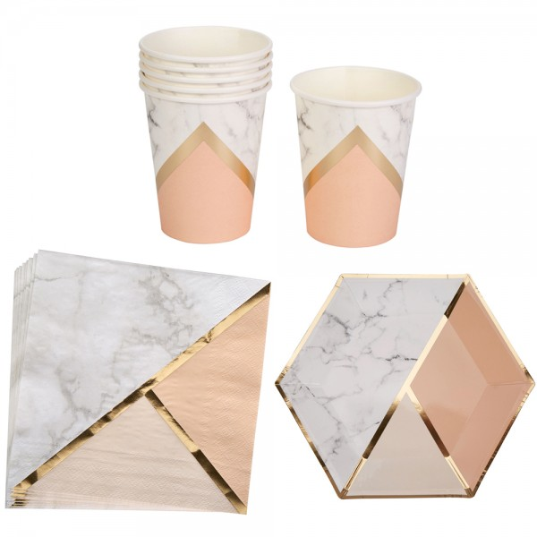 Partyset Marble Peach