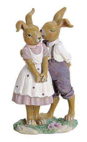 Figur verliebtes Hasenpaar flieder-lila, nostalgisch