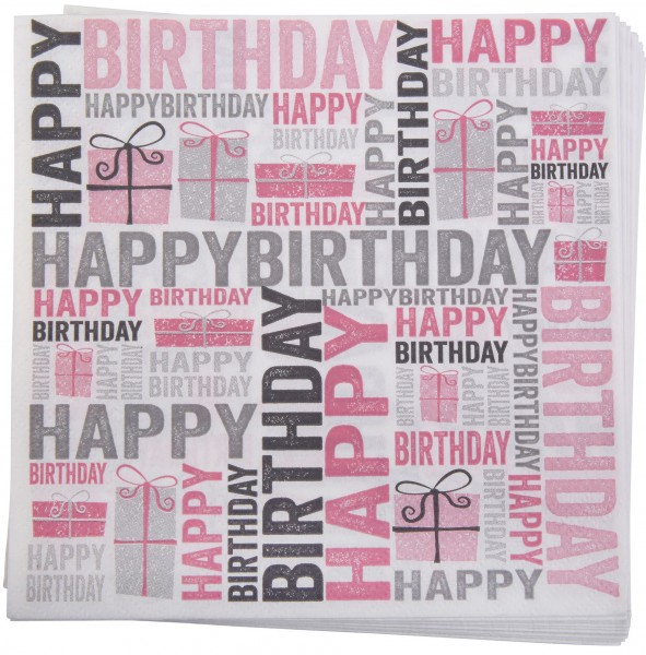Servietten Happy Birthday in Pink & Grau, 20 Stk.