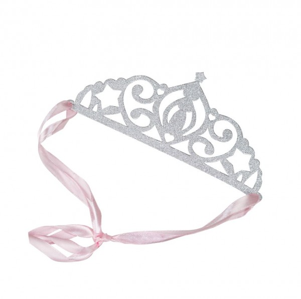 Party-Kinderkrone Prinzessin in Glitzer silber/rosa 5 Stk.
