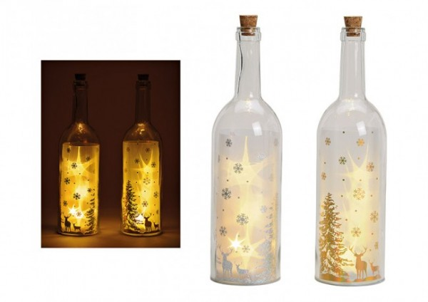 Glasflasche Winterwald GOLD LED, 2er Set