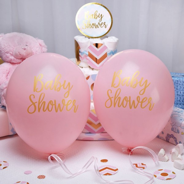 Luftballons Baby Shower pink
