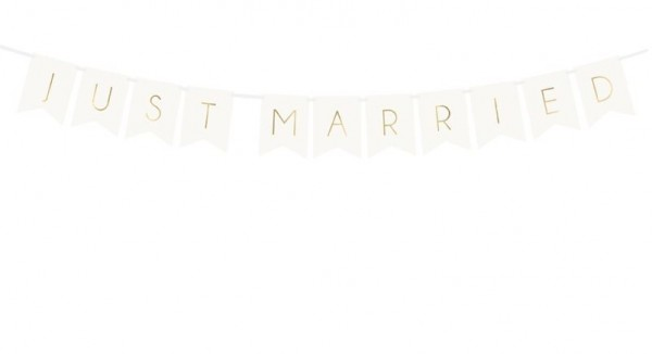 Banner JUST MARRIED weiss