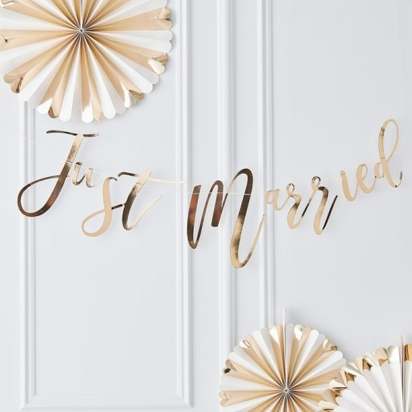 Girlande Just Married GOLD GLAM WEDDING