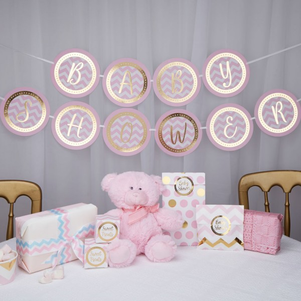 Girlande Baby Shower, pink