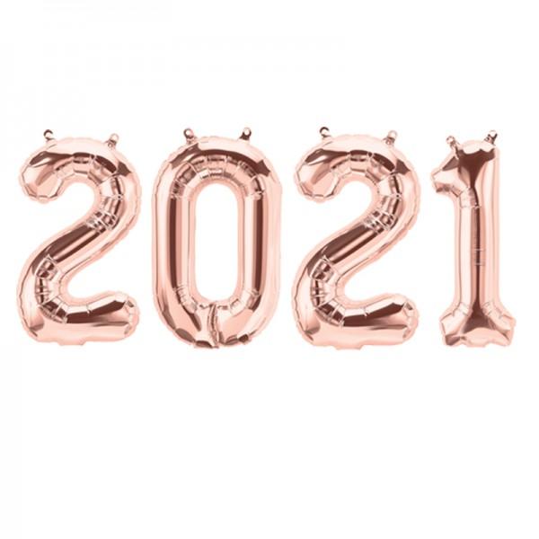 Zahl 2021 Folienballon roségold 35 cm Silvester