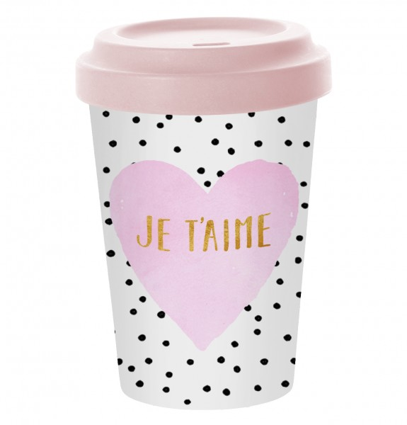 Bamboo Coffee-To-Go Becher JE T'AIME