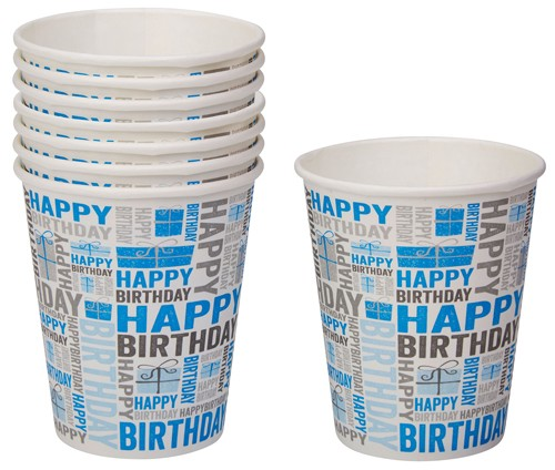 Partybecher Happy Birthday Blau | Grau