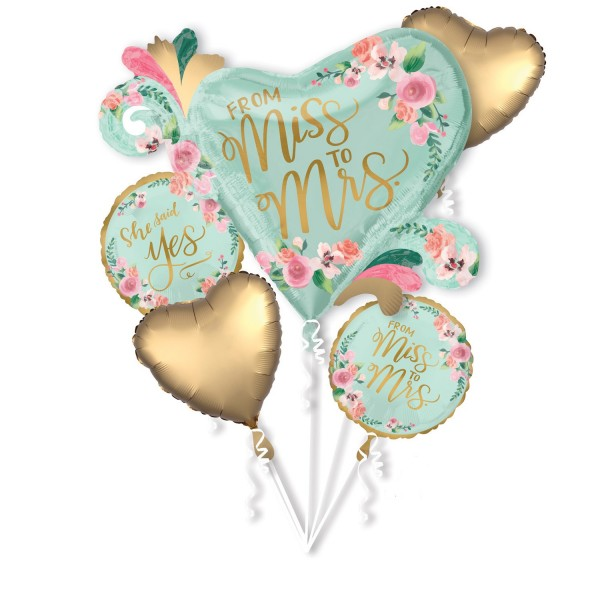 JGA Folienballon From Miss to Mrs 5-tlg