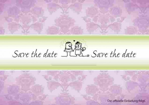 Save the Date Karte in Flieder
