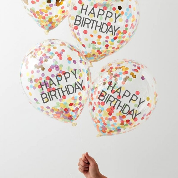 Luftballons Happy Birthday bunt 5 Stk.