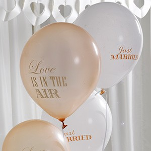 Luftballons LOVE IS IN THE AIR creme-gold 8 Stk.