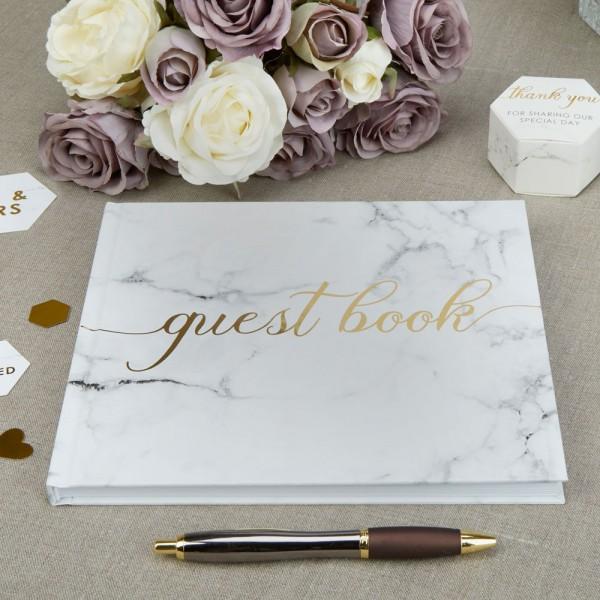 Hochzeitsgästebuch Marble, Weiss