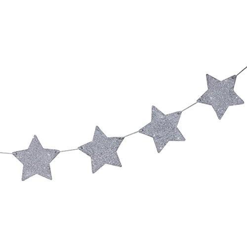 Weihnachtsgirlande Sterne silber Glitter