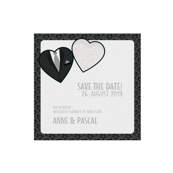 Save-the-Date Karte BRIDE & GROOM, 4 Stk.
