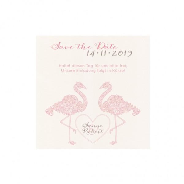 Save-the-Date Karte PINK FLAMINGO, 4 Stk.