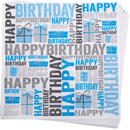 Servietten Happy Birthday in Blau & Grau