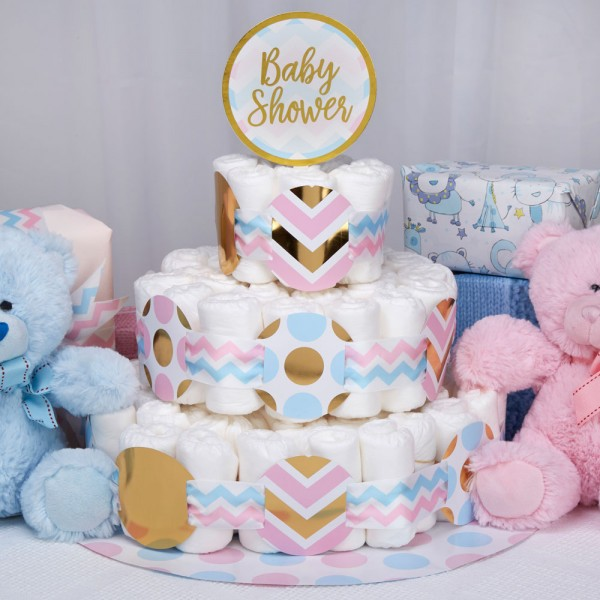 Deko Set für Windeltorte BABY SHOWER